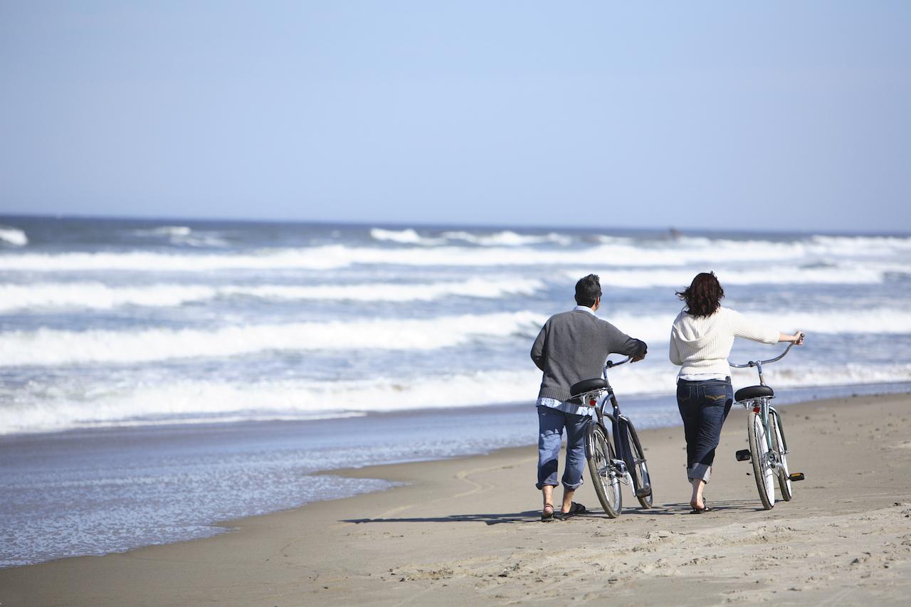 playa y bici